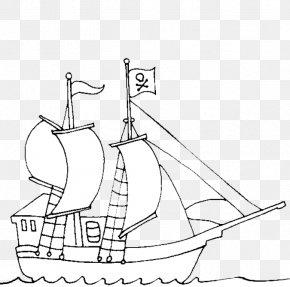 Ship - Ship Piracy Coloring Book Template Clip Art PNG