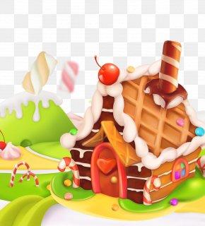 Cartoon Candy House - Lollipop Candy Cupcake Sweetness PNG