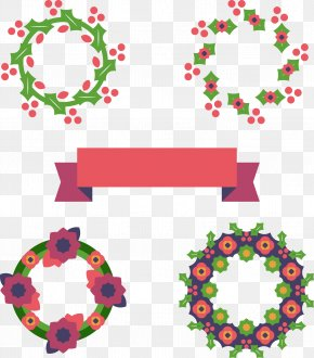 Christmas Wreath With Ribbon - Christmas Ornament Garland PNG
