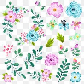 Gouache Floral Pattern - Flower Illustration PNG