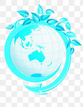 Vector Globe - Earth Green Leaf Material PNG