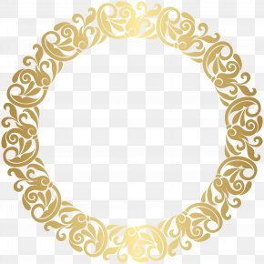 Gold Round Border Frame Clip Art - Gold Picture Frame Clip Art PNG