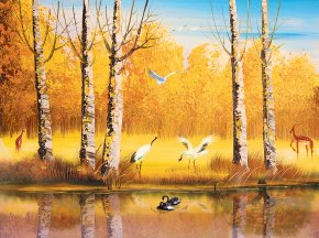 Autumn Beautiful Swan Swimming Creative Background - Wall Painting Mural Wallpaper PNG