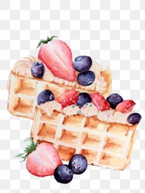 Strawberry Waffles - Ice Cream Belgian Waffle Strawberry Dessert PNG