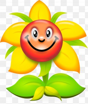 Smiley Sunflowers - Flower Humour Smiley Clip Art PNG