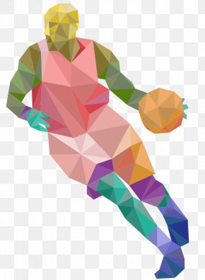 Cartoon Hand-painted Origami Effect Basketball Player - Basketball Player Sport Athlete PNG