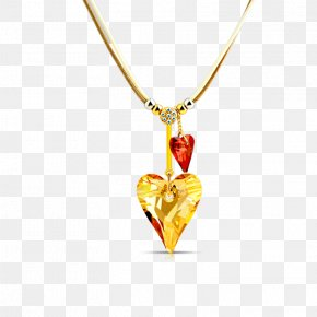 Golden Heart - Charms & Pendants Heart Necklace Computer File PNG