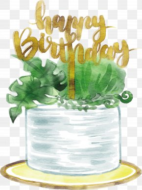 Watercolor Hand Painted White Birthday Cake - Birthday Cake Computer File PNG