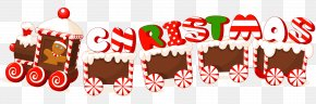 Merry Christmas Candy Train Text Label - Christmas New Year Clip Art PNG