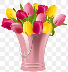 Spring Bucket With Tulips Transparent Clip Art Image - Friday Morning Quotation Blessing PNG