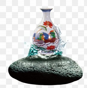 Chinese Style Stone Water Flower Vase - Analects Gratis Download PNG