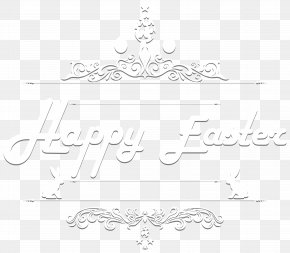 Happy Easter Text Clip Art Image - Black And White Angle Point Pattern PNG