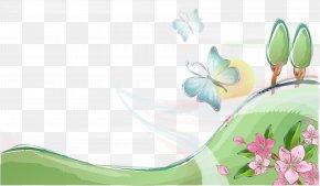 Hand-painted Vector Field - Butterfly Flower Euclidean Vector Clip Art PNG