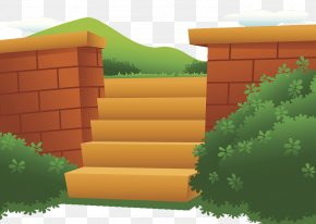 Flat Illustration Garden Fence And Bushes - Shrub Garden Download Illustration PNG