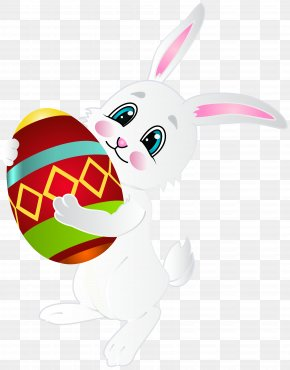Easter Bunny With Egg Clip Art Image - White House Easter Bunny Easter Egg Egg Hunt PNG