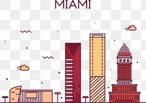Miami Street View Vector - Skyline Stock Illustration Illustration PNG