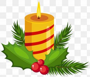 Christmas Holly Candle Transparent Clip Art Image - Candle Christmas Advent PNG