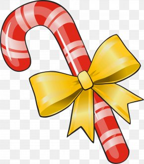 Transparent Christmas Candy Cane With Yellow Bow Clipart - Candy Cane Lollipop Clip Art PNG