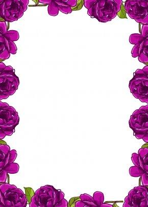 Rose Page Border - Border Flowers Rose Clip Art PNG