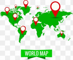 Green World Map - Wall Decal World Map Sticker PNG