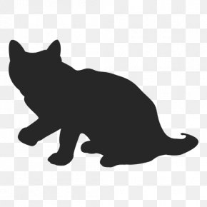 The Cat Sitting On The Chair - Black Cat Silhouette Whiskers Clip Art PNG