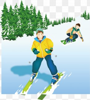 Snow Ski Snow Vector Winter Tourism - Adobe Illustrator Skiing PNG