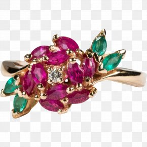 GOLD ROSE - Jewellery Ring Gemstone Ruby Emerald PNG