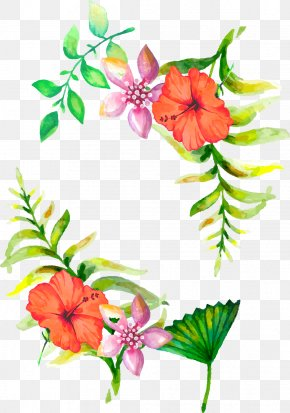 Watercolor Flowers Border - Floral Design Flower Wedding Aesthetics PNG
