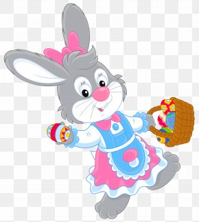 Easter Bunny With Egg Basket Picture - Easter Bunny Clip Art PNG