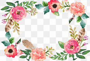 Flower Border - Watercolor Painting Flower Illustration PNG