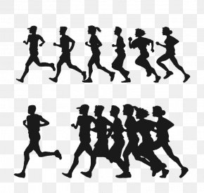 Running People Silhouette Vector Material - Running Euclidean Vector Clip Art PNG