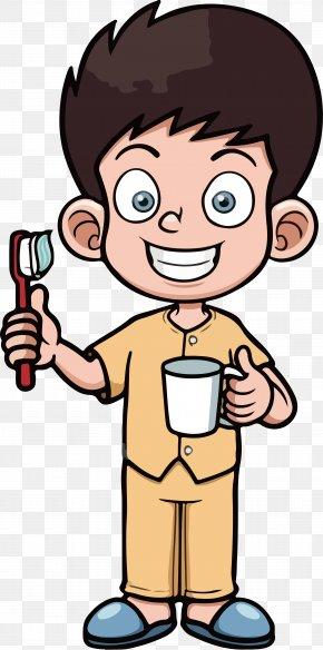 Cartoon Brushing Boy Vector - Tooth Brushing Dentistry Cartoon PNG
