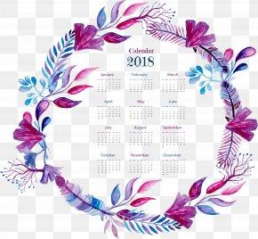 Exquisite Purple Watercolor Wreath Calendar - Watercolor Painting PNG
