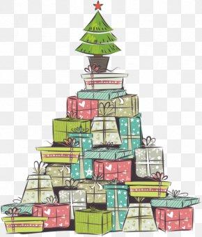 Christmas Tree And Christmas Presents - Christmas Tree Christmas Gift Wallpaper PNG