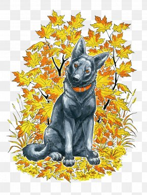 Vector Dog And Leaves - Dog Cat Adobe Illustrator PNG
