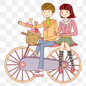 Couple On Bike - Bicycle Cycling Cartoon PNG