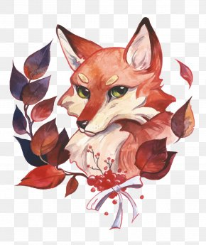 Vector Fox - Watercolor Painting Fox PNG