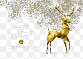 Golden Christmas Reindeer - Reindeer Christmas Geometry PNG