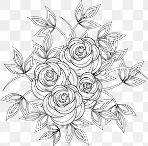 Flowers Drawing Line Art - Line Art Drawing Coloring Book PNG