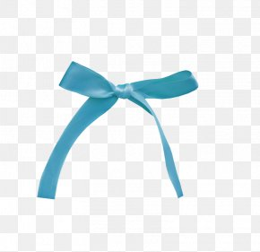 Ribbon - Blue Ribbon Turquoise Color Shoelace Knot PNG