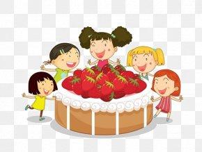 Cartoon Strawberry Cake Material - Shortcake Strawberry Cream Cake Cupcake Birthday Cake Clip Art PNG
