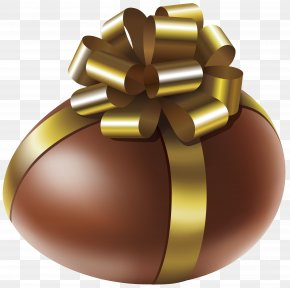 Easter Chocolate Egg With Gold Bow Transparent Clip Art Image - Chocolate Cake Egg Clip Art PNG