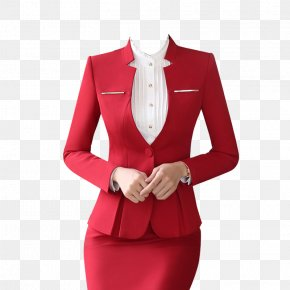 Red Low Collar Professional Women Suit Skirt Suit - Suit Formal Wear Skirt Clothing Dress PNG