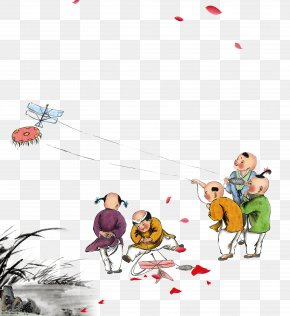 Hand-painted Watercolor Kite-flying Ancient Children - China Child Ancient History Kite Play PNG