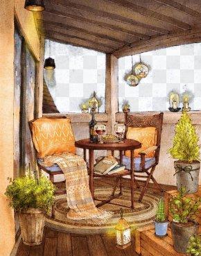 Balcony Landscape Illustration - Artist Painting Drawing Illustration PNG