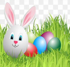Easter Grass With Bunny Egg Clipart Image - Easter Bunny Domestic Rabbit Clip Art PNG