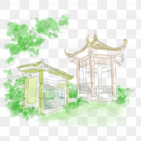 Park Hexagonal Pavilion Hand Drawing - Drawing Park Gratis PNG