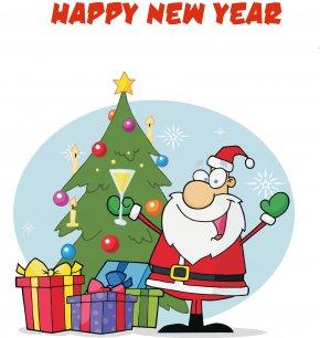 Microsoft Firefly Cliparts - Santa Claus Christmas Tree Cartoon Clip Art PNG
