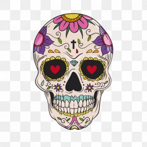 Skull With Pattern - Calavera Mexican Cuisine Drawing Idea Skull And Crossbones PNG
