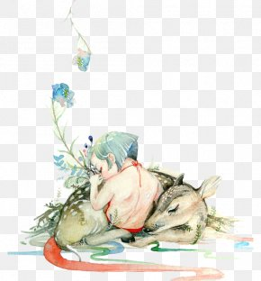 Hand-painted Boy And Deer - Deer Watercolor Painting Illustration PNG